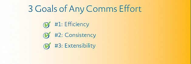 3 Goals of Any Comms Effort: Efficiency, Consistency & Extensibility